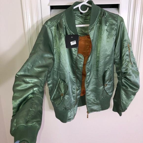 ede294ed7 Metallic Green Bomber Jacket NWT